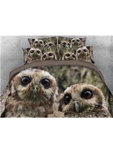 Vivilinen Pair of Owls Printed 4-Piece 3D Bedding Sets/Duvet Cover