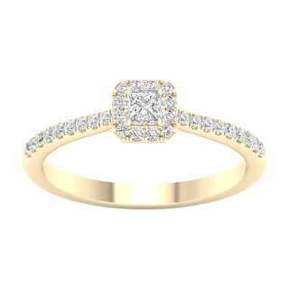 1/3ct TDW Princess Cut Diamond Halo Ring in 10k Gold by De Couer (6.5 - Yellow)