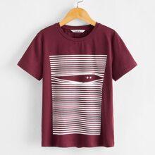 Jungen T-Shirt mit Karikatur Grafik und Streifen