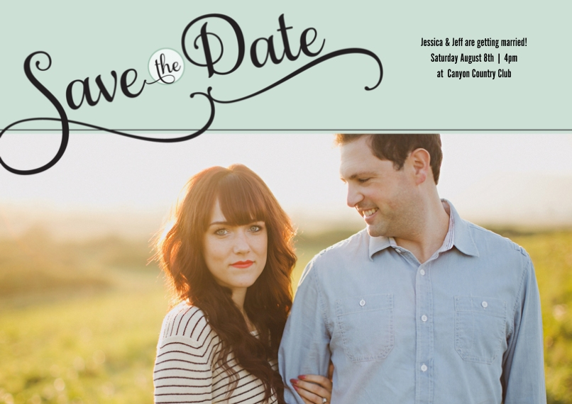 Save the Date 5x7 Cards, Premium Cardstock 120lb with Rounded Corners, Card & Stationery -Fanciful Script