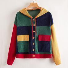 Colorblock Corduroy Hooded Jacket