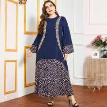 Kleid mit Blatt Stickereien Muster und Farbblock