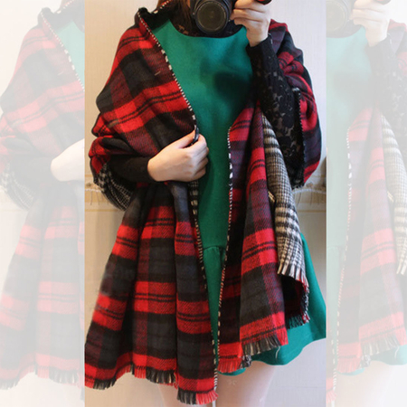 Yoins Red Wrap Scarf in Check Pattern