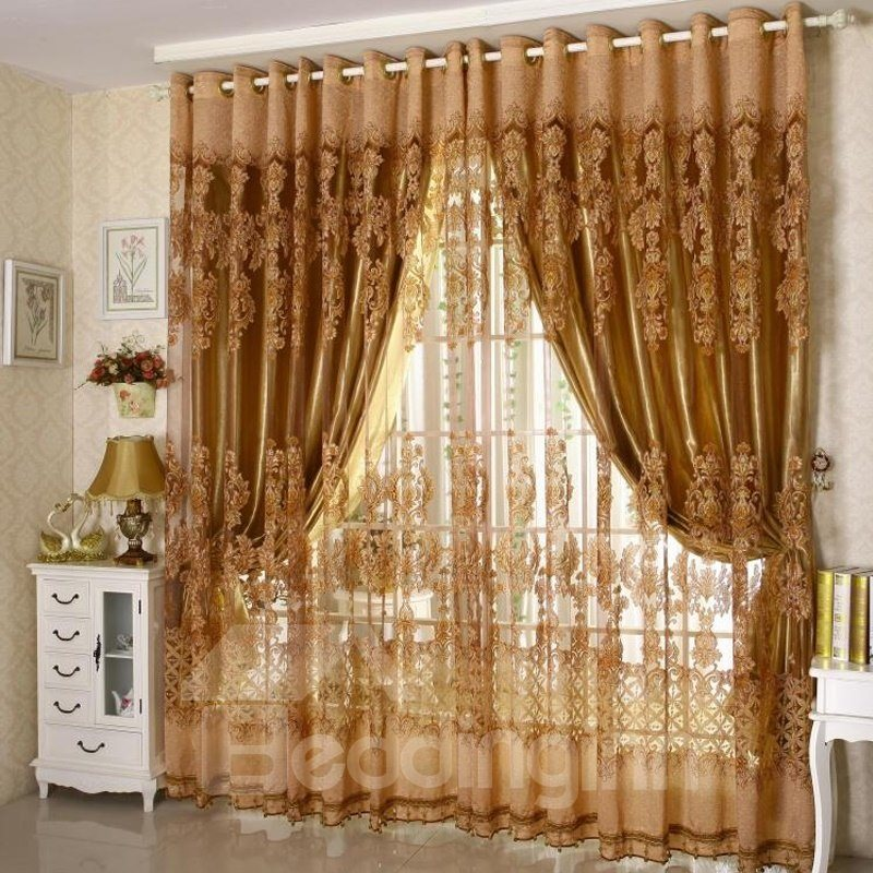 European Style Coffee Heat Insulation Plant Embroidered Sheer