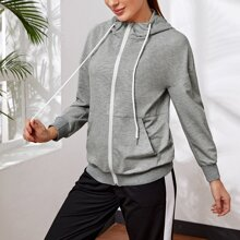 Sports Jacke mit sehr tief angesetzter Schulterpartie, Reissverschluss, Kordelzug und Kapuze