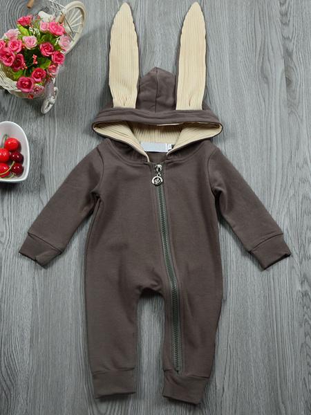 Milanoo Baby Bunny Costume Halloween Grey Animal Toddler Flannel Jumpsuits