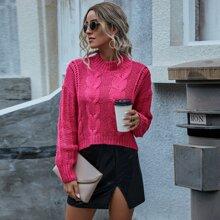 Einfarbiger Strick Pullover mit Stehkragen