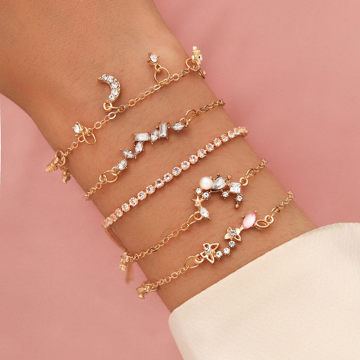 5Pcs Sweet Butterflies Bracelet Set Diamonds Star Moon Imitation Pearls Women Crystal Bracelet