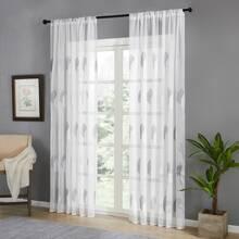 1 pieza cortina con bordado de hoja