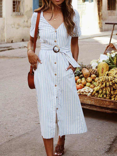 Milanoo Blue Maxi Dresses Short Sleeves Stripes V Neck Cotton Long Dress With Sash