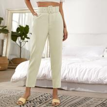 Slant Pocket Belted Tailored Pants