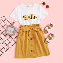 Maedchen T-Shirt mit Buchstaben Grafik & Rock mit Papiertasche Taille, Guertel und Knopfen