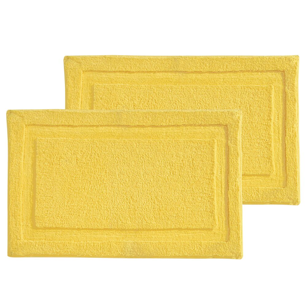 Microfiber Bath Mat / Non-Slip Bathroom Rug in Yellow, 34 x 21, Set of 2, by mDesign