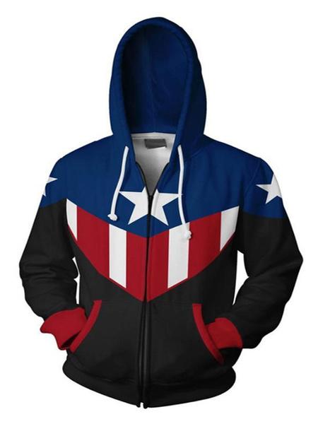 Milanoo Marvel Movie Captain American Halloween Cosplay Hoodie