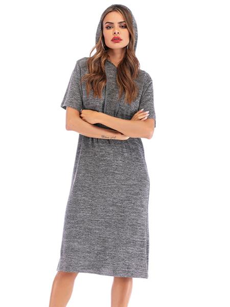 Milanoo Vestido de verano con capucha Vestido de playa extragrande de manga corta gris