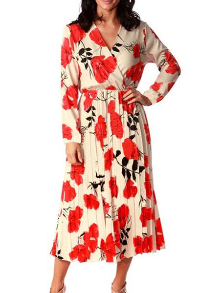 Milanoo Vestido boho con cuello en v manga larga vestido estampado de flores de verano