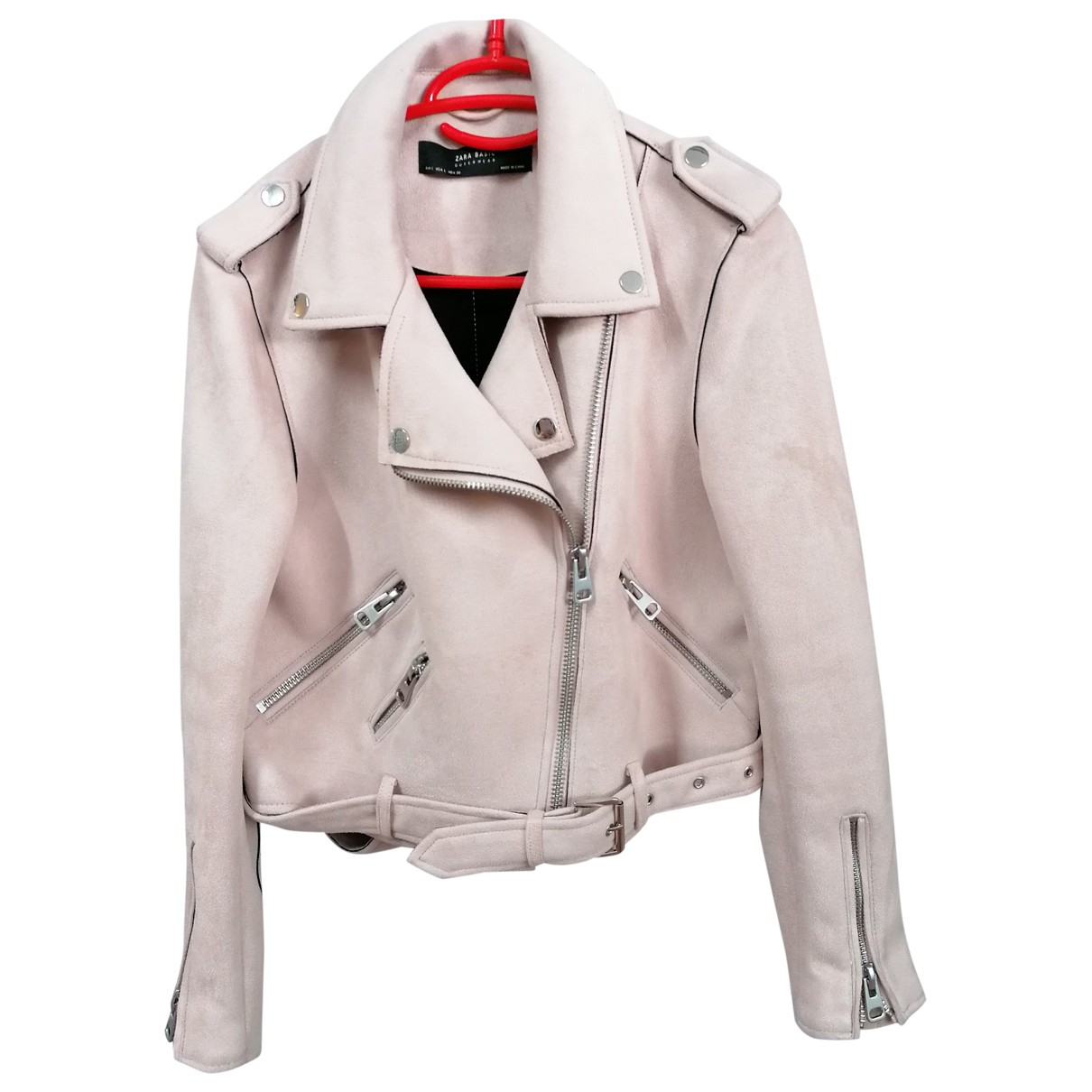 Zara \N Pink Leather jacket for Women L International