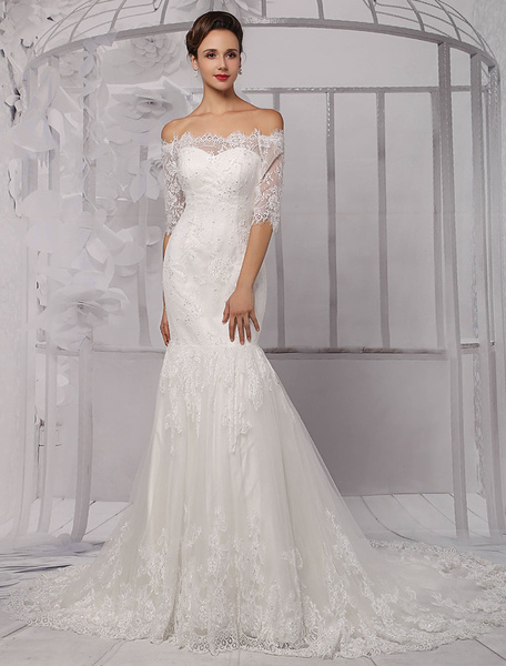 Milanoo Half Sleeve Off the Shoulder Lace Wedding Dress in Trumpet Style