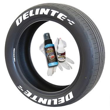 Tire Stickers DELINTE-075-8-PM-1 Permanent Raised Rubber Lettering 'Delinte' Logo - 8 of each -   14-21