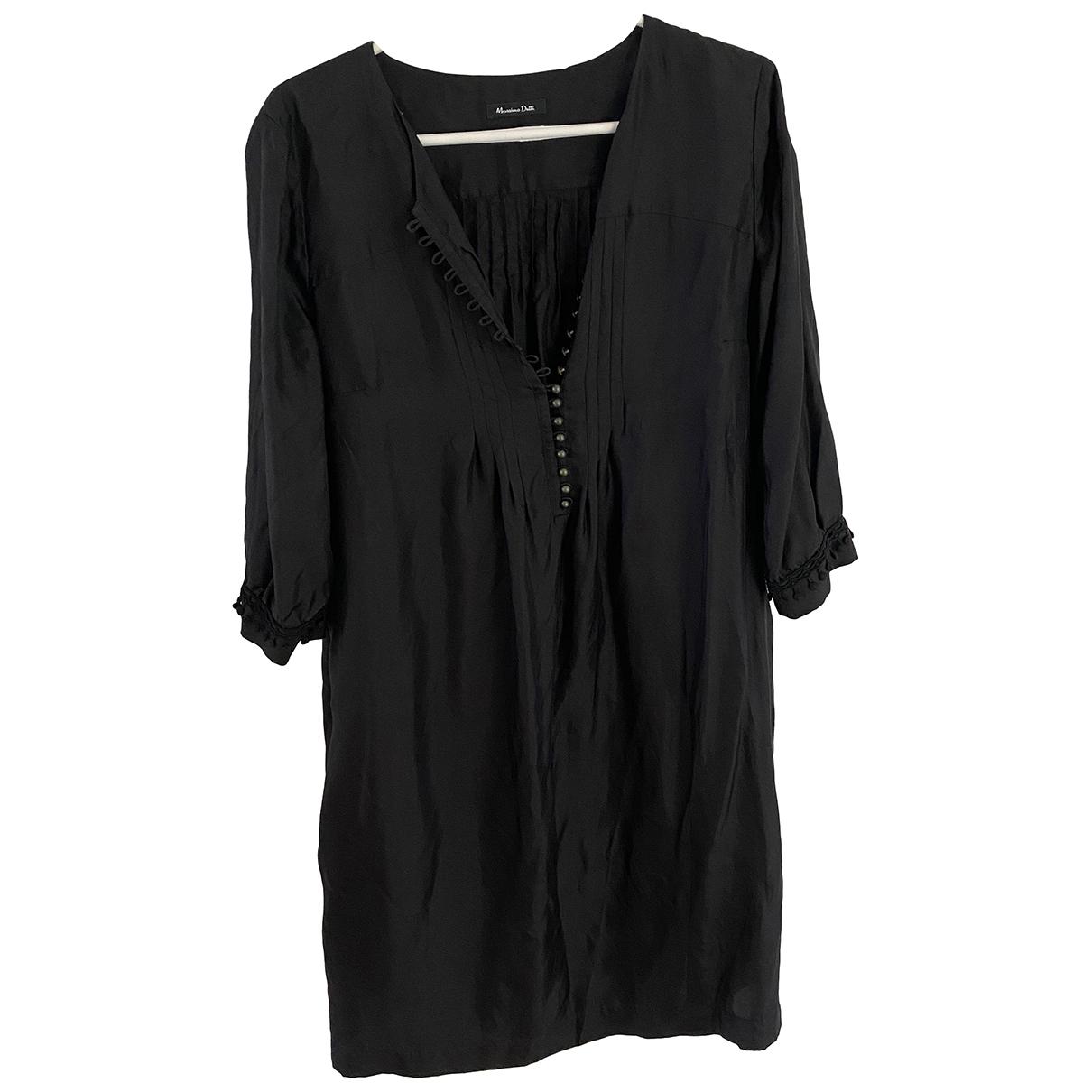 Massimo Dutti \N Kleid in  Schwarz Seide