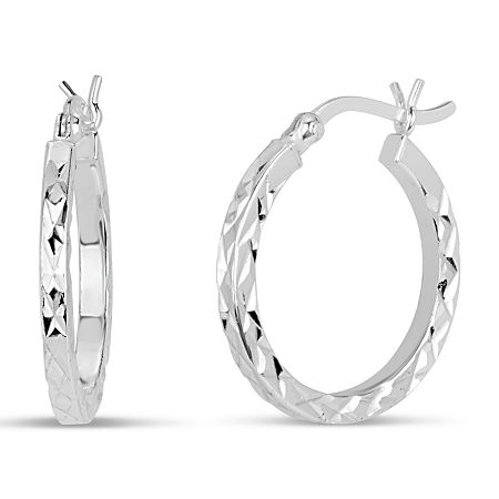 Sterling Silver 20.3mm Hoop Earrings, One Size , No Color Family