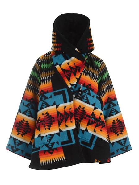 Milanoo Abrigo de mujer estampado cuello alto con capucha bloque de color casual abrigo de invierno negro