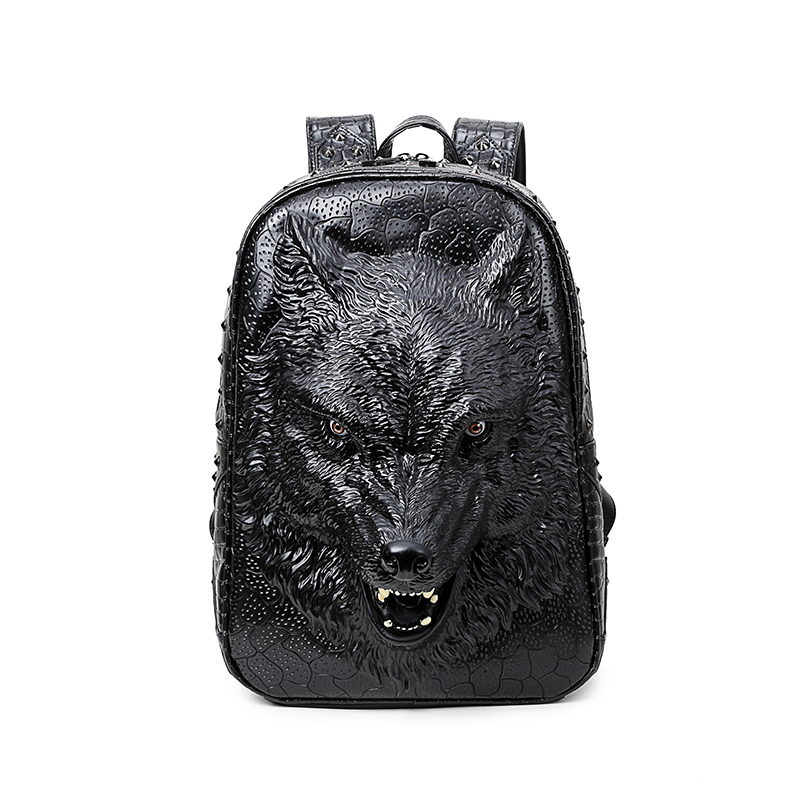 Wolf Head 3D PU Leather Casual Laptop Backpack School Bag