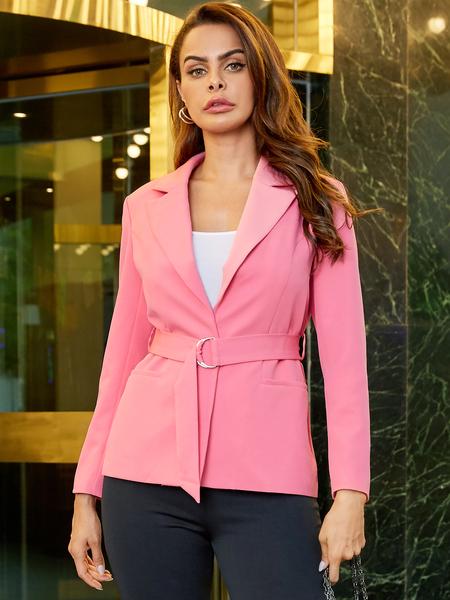 YOINS Light Pink With Belt Notch Collar Blazer