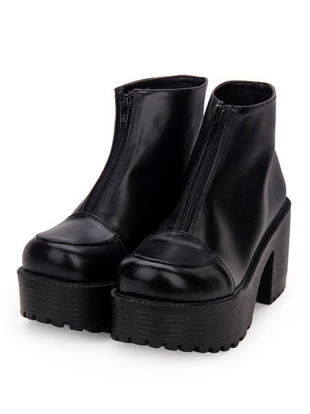 Milanoo Gothic Lolita Booties Zipper Platform Chunky Heel Black Lolita Ankle Boots