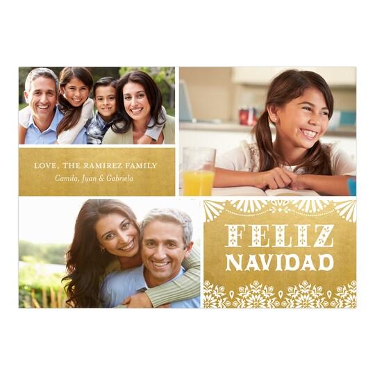 20 Pack of Gartner Studios® Personalized Feliz Fun Feliz Navidad Photo Card in Gold   5