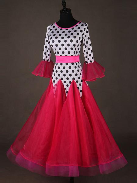 Milanoo Ballroom Dance Costume Top Red Women Long Sleeve Polka Dot Print Training Dancing Clothes
