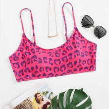 Plus Leopard Bikini Top