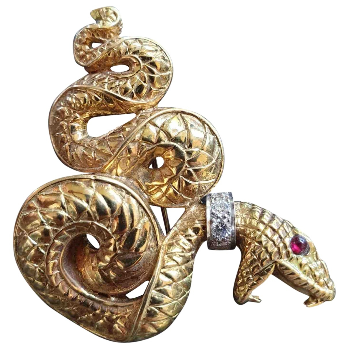 Non Signé / Unsigned Motifs Animaliers Yellow Yellow gold Pins & brooches for Women \N