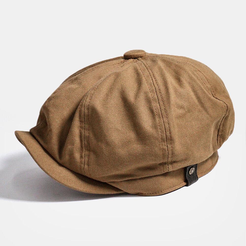 Men Octagonal Newsboy Cap Summer Cabbie Lvy Flat Hat Vintage Painter Beret Hats