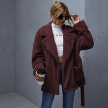 Notched Collar Patch Pocket Belted Teddy Coat