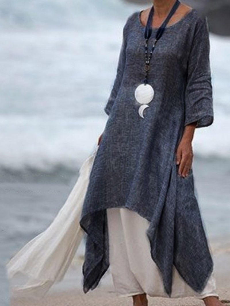 Ericdress Color Block Round Neck Patchwork Casual Maxi Dress