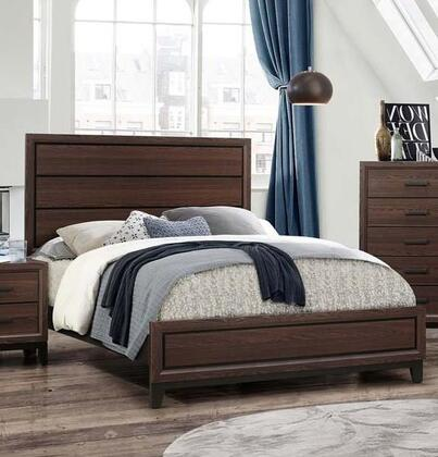 Shiloh Collection SH176-Q Queen Size Bed with 4 Slats and 4 Support Legs in Brown