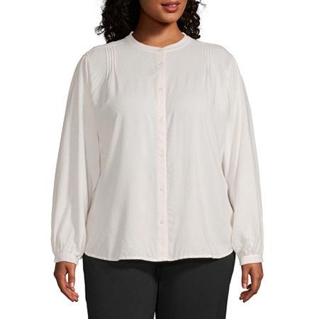 Worthington Womens Volume Sleeve Top - Plus, 3x , White