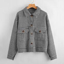 Jacke mit Hahnentritt Muster, Taschen Klappen und umgesaeumtem Saum