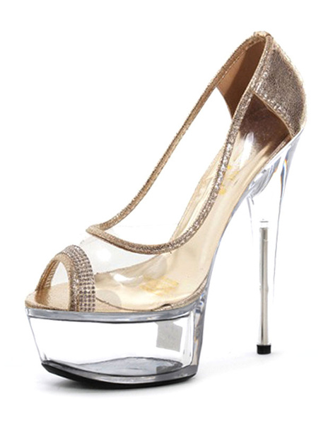Milanoo Sexy High Heels Peep Toe Platform Transparent Slip-on Stiletto Heel Pumps (5.9 Inch)