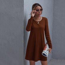 Rib-knit Solid Tee Dress