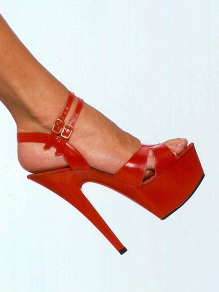 Milanoo Sandalias sexis para mujer, plataforma de cuero PU negro, zapatos sexis de tacon alto con punta abierta