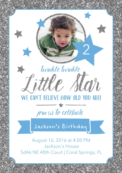 Kids Birthday Party Invites 5x7 Cards, Premium Cardstock 120lb with Scalloped Corners, Card & Stationery -Little Star Birthday Invitation