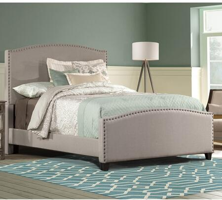 Kerstein Collection 1932BQR Queen Size Bed with Headboard  Footboard  Rails  Fabric Upholstery  Decorative Nail Head Trim and Sturdy Wood