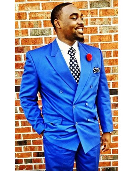 Mens Royal Blue Double breasted Suit Jacket & Pants