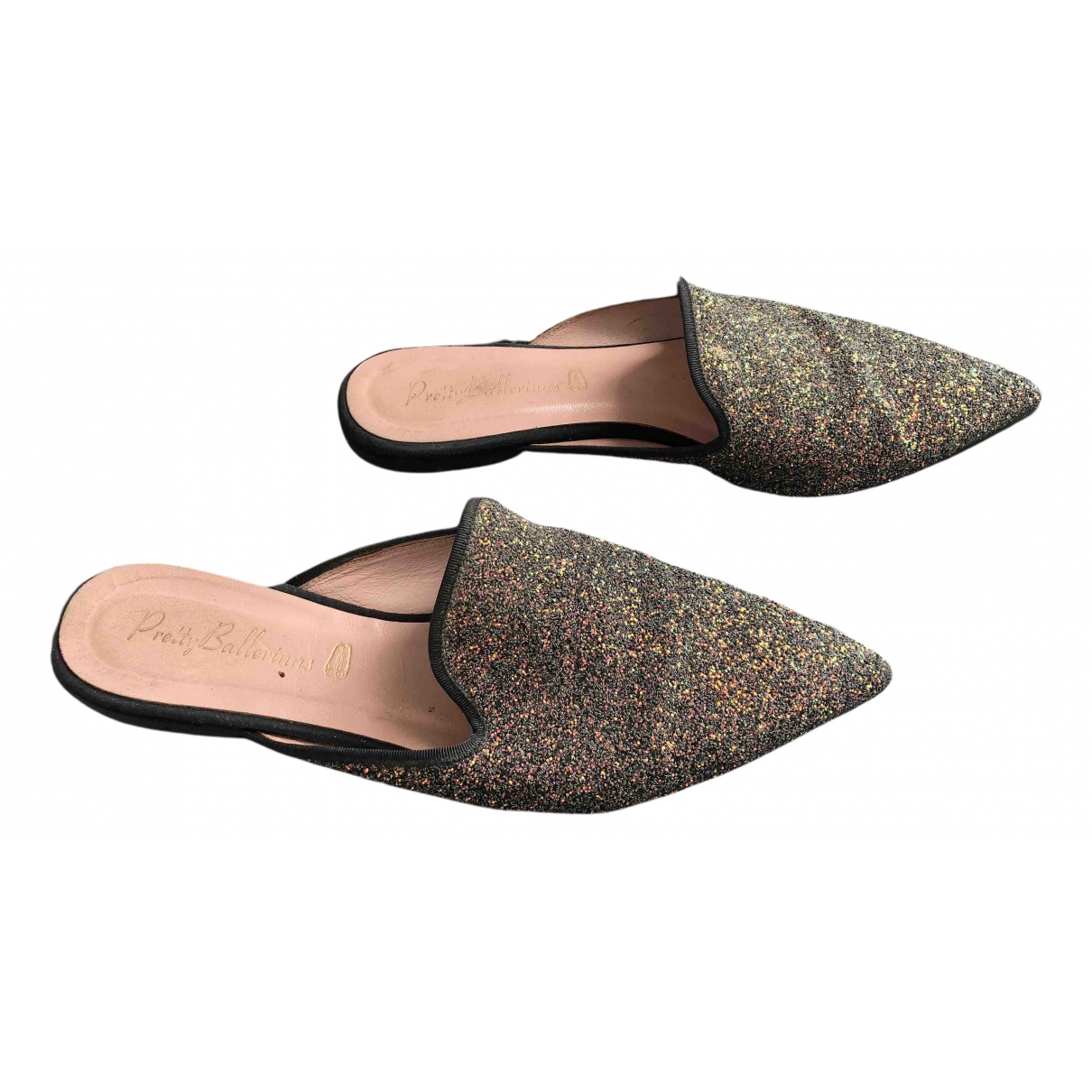 Pretty Ballerinas N Black Glitter Mules & Clogs for Women 39 IT