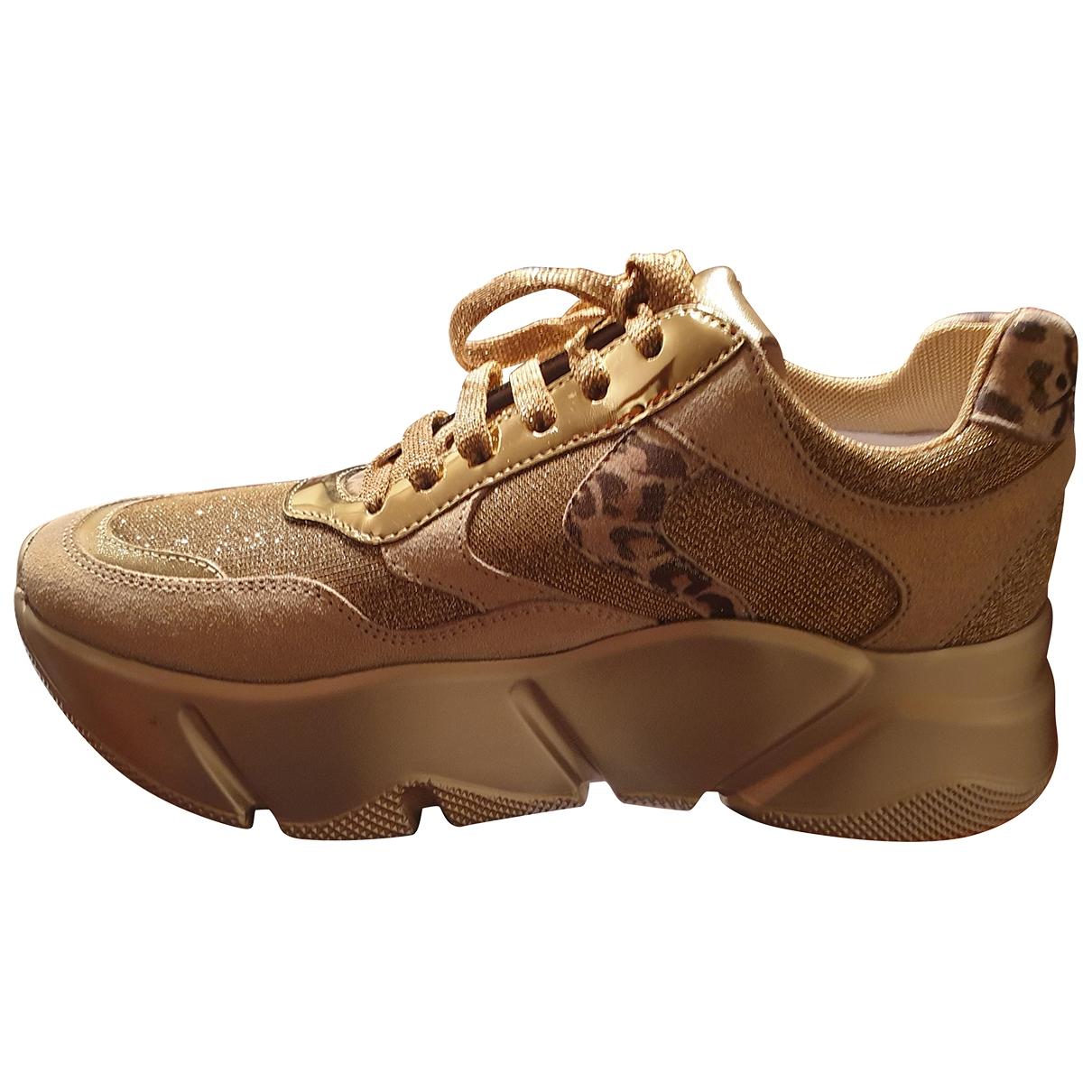 - Baskets   pour femme en cuir - beige