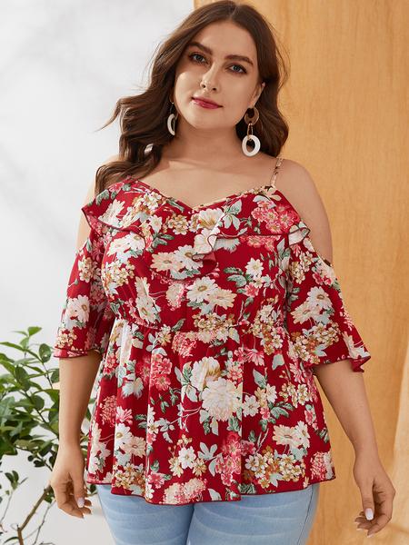 YOINS Plus Size Red Ruffle Trim Floral Print Cold Shoulder Blouse