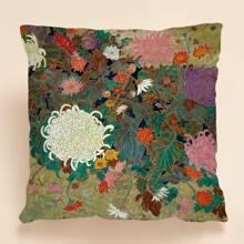 Kissenbezug mit Blumen Muster ohne Fuellstoff