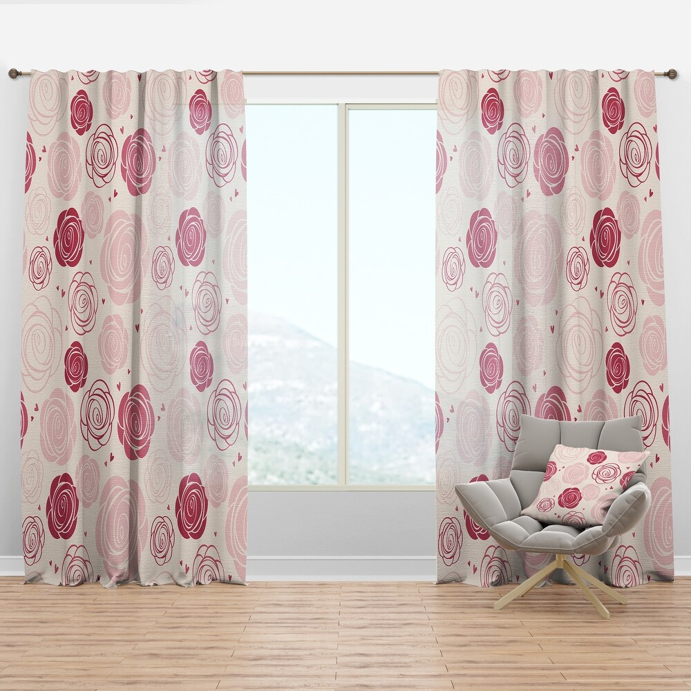 Designart 'roses pattern' Mid-Century Modern Curtain Panel (50 in. wide x 120 in. high - 1 Panel)